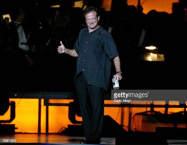 Comedian Robin Williams performs on stage during the Andre Agassi Foundation's 8th Annual Grand Slam for Children benefit concert at the MGM Grand...