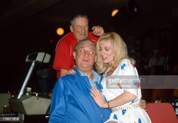 Comedian Rodney Dangerfield actress Lee Meredith Mystery writer Mickey Spillane tape a Miller Lite commercial December 2 1981 in New York City