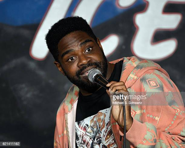 Comedian Ron Funches performs during his appearance at The Ice House Comedy Club on November 5 2016 in Pasadena California