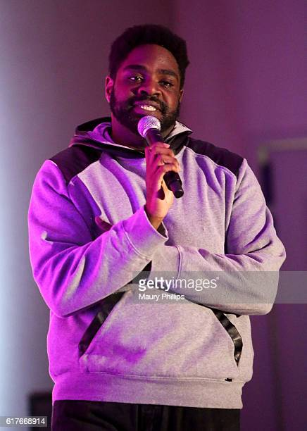 Comedian Ron Funches performs onstage during the NextGen Climate and Funny or Die's Jokes For Votes Tour at USC on October 23 2016 in Los Angeles...