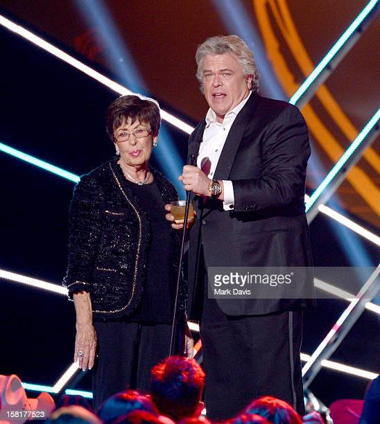 Comedian Ron White and his mother Barbara Oliver speak onstage during the 2012 American Country Awards at the Mandalay Bay Events Center on December...