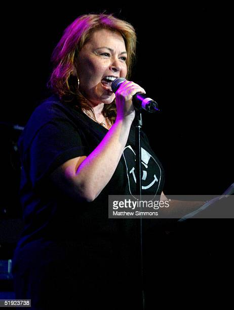 """Comedian Roseanne speaks during """"Words and Music in Honor of Fahrenheit 9/11"""" on January 6, 2005 at the House of Blues in West Hollywood, California."""