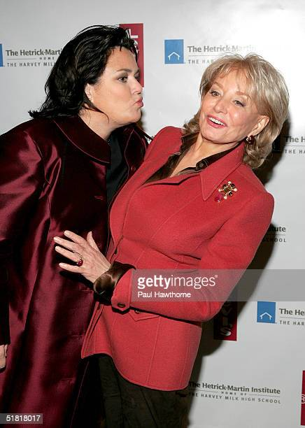 Comedian Rosie O'Donnell and talk show host Barbara Walters attend the HetrickMartin Institutes 2004 Emery Awards at Capitale December 2 2003 in New...