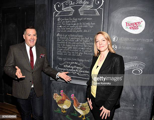 Comedian Ross Mathews and Jenni Danby Chief Marketing officer of the happy egg co attend The happy egg co #FlockingHappy launch event in partnership...