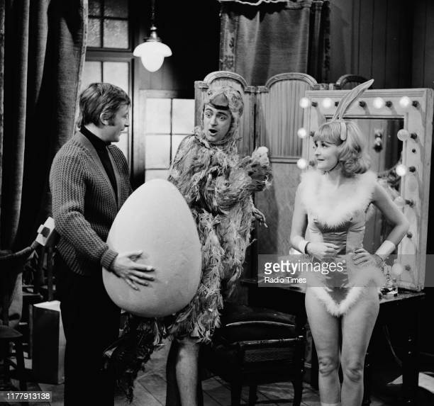 Comedian Roy Hudd and actress Marcia Ashton in a sketch from the BBC television series 'The Illustrated Weekly Hudd' 1966