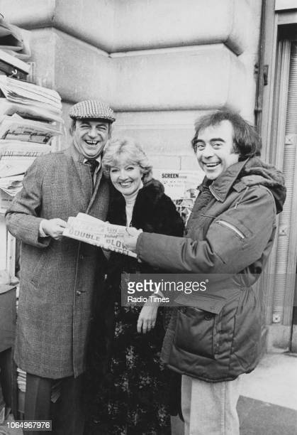 Comedian Roy Hudd pictured with actors Janet Brown and Chris Emmett photographed for Radio Times in connection with the BBC Radio 2 comedy sketch...