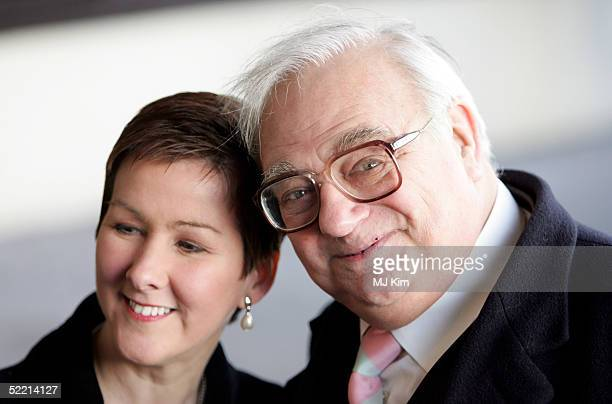 Comedian Roy Hudd with his wife arrives at the Norman At Ninety Tribute Luncheon at the Royal Lancaster Hotel on February 18 2005 in London Members...