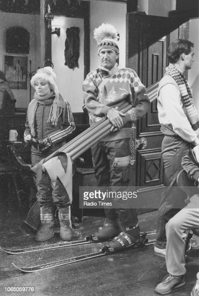 Comedian Russ Abbot wearing skiing clothes in a sketch from the television series 'The Russ Abbott Show' March 7th 1986