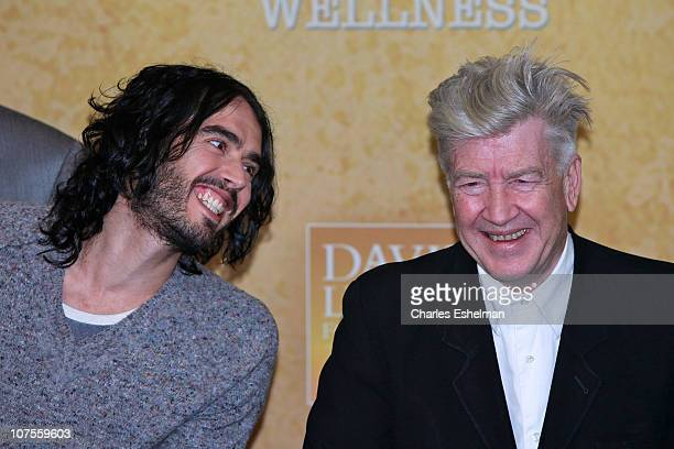 Comedian Russell Brand and filmmaker David Lynch attend The David Lynch Foundation's Operation Warrior Wellness launch press conference at the Paley...