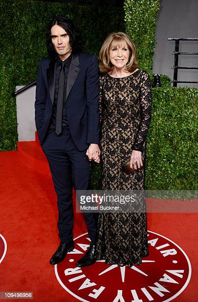 Comedian Russell Brand and mother Barbara Brand arrive at the Vanity Fair Oscar party hosted by Graydon Carter held at Sunset Tower on February 27...