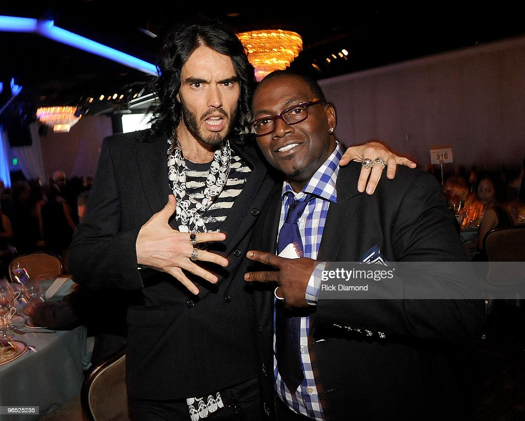 Comedian Russell Brand and producer Randy Jackson attend the 52nd Annual GRAMMY Awards - Salute To Icons Honoring Doug Morris held at The Beverly Hilton Hotel on January 30, 2010 in Beverly Hills, California.