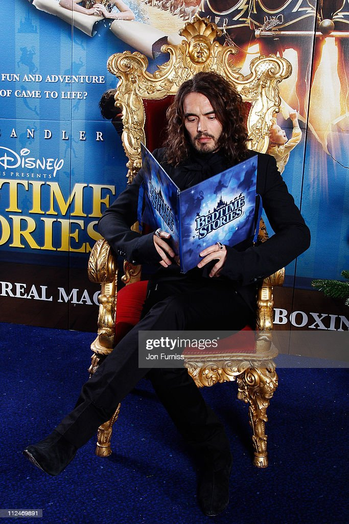 Comedian Russell Brand arrives at the UK film premiere of 'Bedtime Stories' held at the Odeon Kensington on December 11, 2008 in London, England.