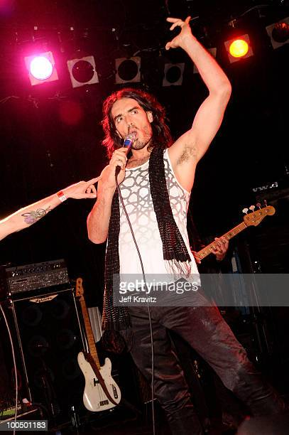 Comedian Russell Brand of Infant Sorrow and Friends performs onstage during 'Get Him To The Greek' at The Roxy Theatre on May 24 2010 in West...