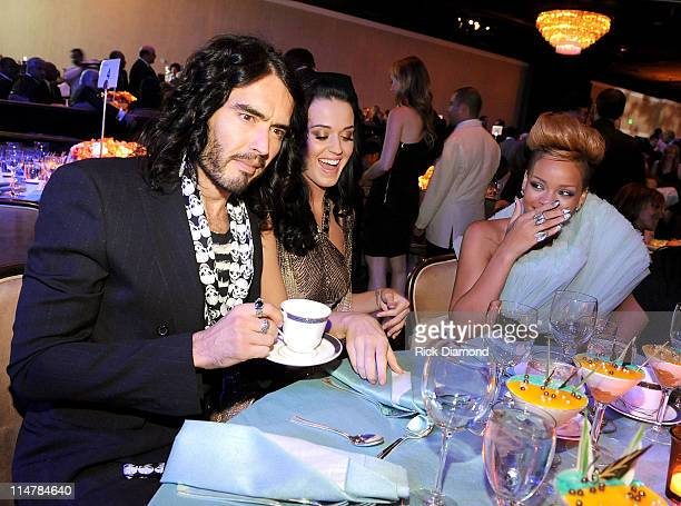 Comedian Russell Brand singers Katy Parry and Rihanna attend the 52nd Annual GRAMMY Awards Salute To Icons Honoring Doug Morris held at The Beverly...