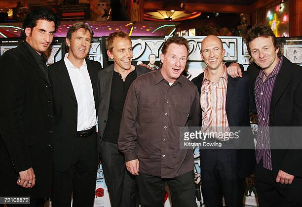 Comedian Russell Gilbert poses with BoyTown actors Lachy Hulme Glenn Robbins Wayne Hope Gary Eck and Bob Franklin at the Australian premiere of the...
