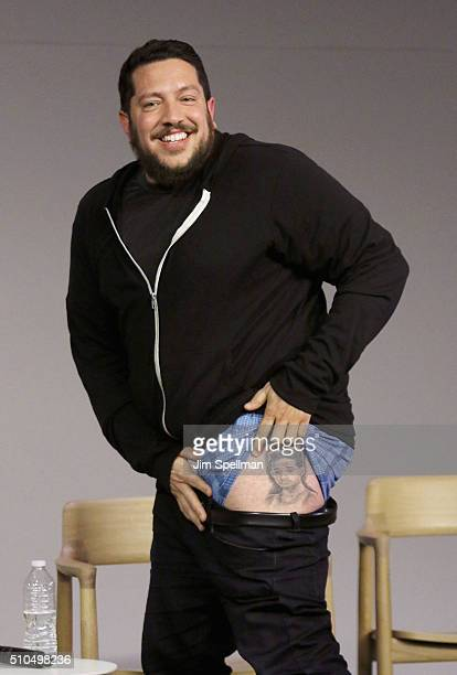 Comedian Sal Vulcano tattoo detail attends Apple Store Soho Presents Meet The Impractical Jokers at Apple Store Soho on February 15 2016 in New York...