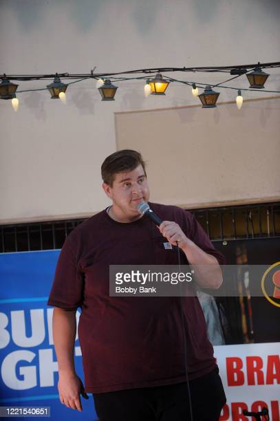 Comedian Sam Hunter performs at the outdoor patio at The Stress Factory Comedy Club on June 20, 2020 in New Brunswick, New Jersey.
