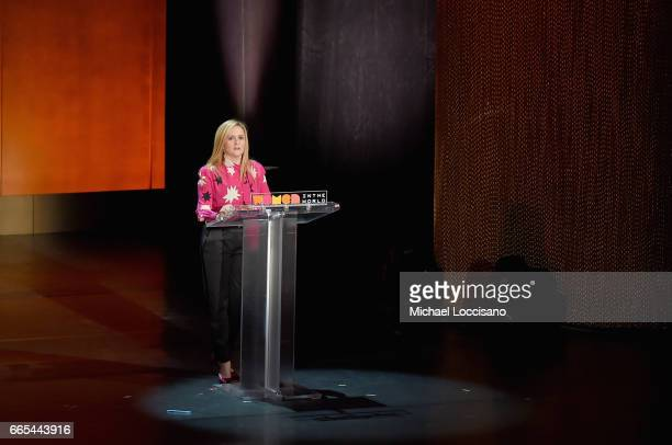 Comedian Samantha Bee speaks during the Eighth Annual Women In The World Summit at Lincoln Center for the Performing Arts on April 6 2017 in New York...