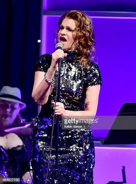 Comedian Sandra Bernhard performs onstage during the Family Equality Council's 2015 Los Angeles Awards dinner at The Beverly Hilton Hotel on February...