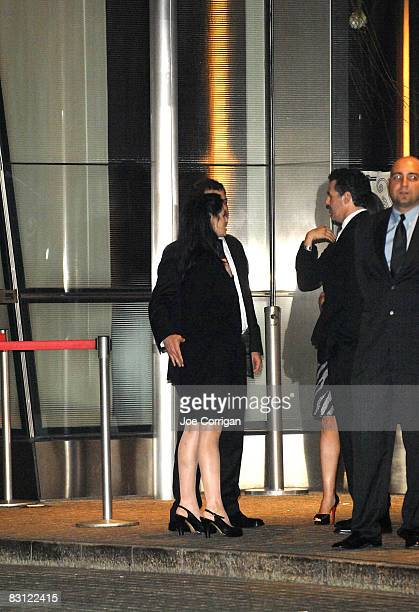 Comedian Sarah Silverman and TV personality Jimmy Kimmel attend the wedding of Howard Stern and Beth Ostrosky at Le Cirque on October 3, 2008 in New...