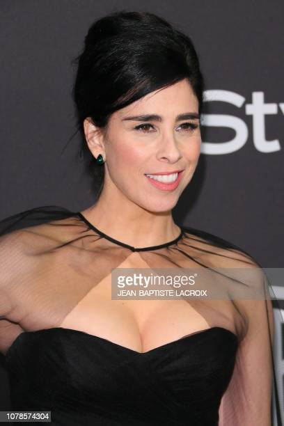 US comedian Sarah Silverman arrives for the Warner Bros and In Style 20th annual post Golden Globes party at the Oasis Courtyard of the Beverly...