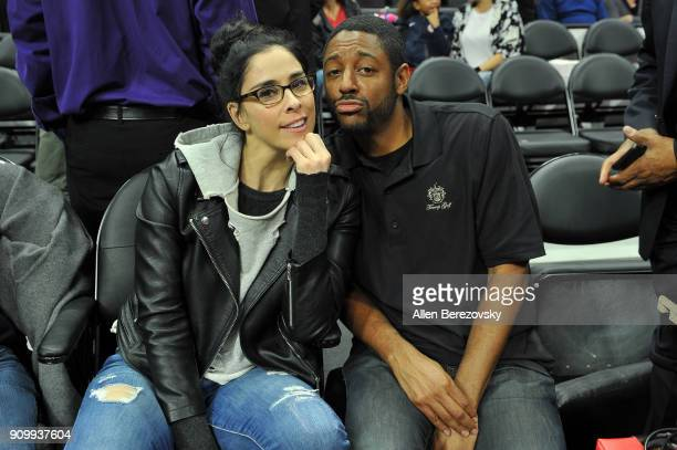 Comedian Sarah Silverman attends a basketball game between the Los Angeles Clippers and the Boston Celtics at Staples Center on January 24 2018 in...