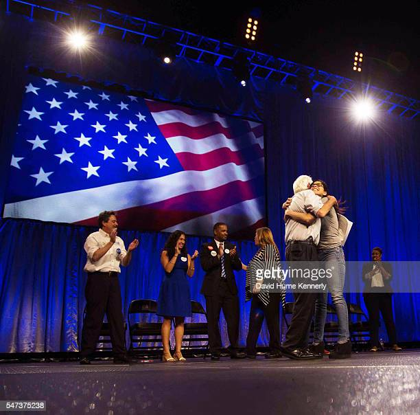 Comedian Sarah Silverman introduces Democratic Presidential candidate Sen Bernie Sanders at a rally at the Los Angeles Memorial Sports Arena August...