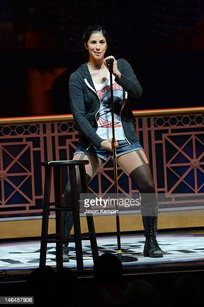 Comedian Sarah Silverman performs onstage at Sarah's Pro Choice hosted by Sarah Silverman with Reggie Watts Natasha Leggero Marc Maron and Kyle...