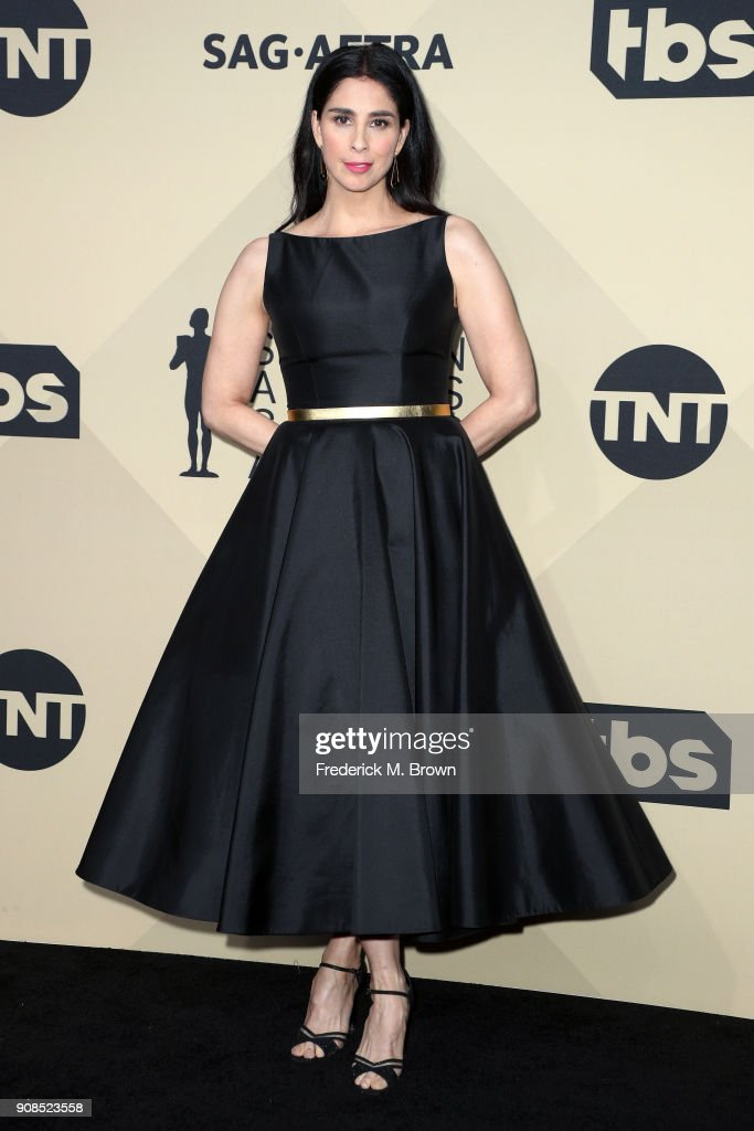 Comedian Sarah Silverman poses in the press room during the 24th Annual Screen Actors Guild Awards at The Shrine Auditorium on January 21, 2018 in Los Angeles, California. 27522_017