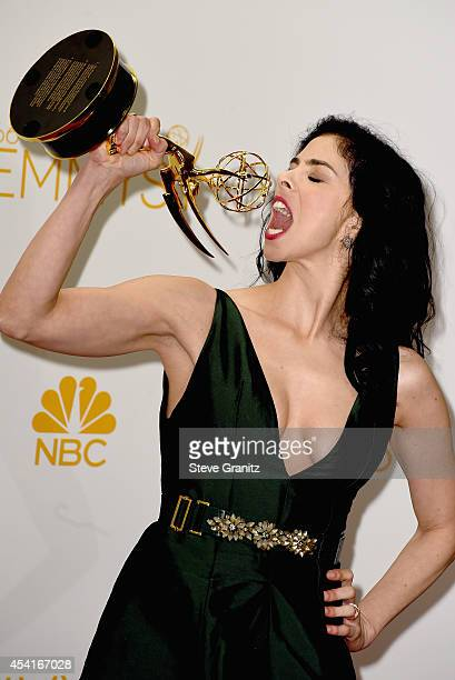 Comedian Sarah Silverman poses in the press room during the 66th Annual Primetime Emmy Awards held at Nokia Theatre LA Live on August 25 2014 in Los...