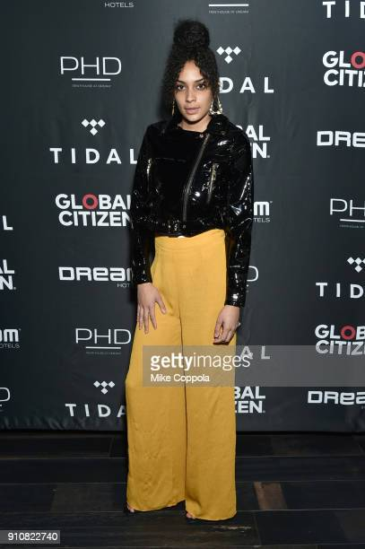 Comedian Sasha Merci attends a preGrammy celebration cohosted by Global Citizen Tidal and French Montana at PhD Rooftop Lounge at Dream Downtown on...