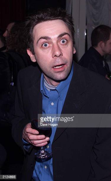 Comedian Sean Hughes attends the opening night of 'The League of Gentlemen' at the Theatre Royal Drury Lane on March 12 2001 in London England The...