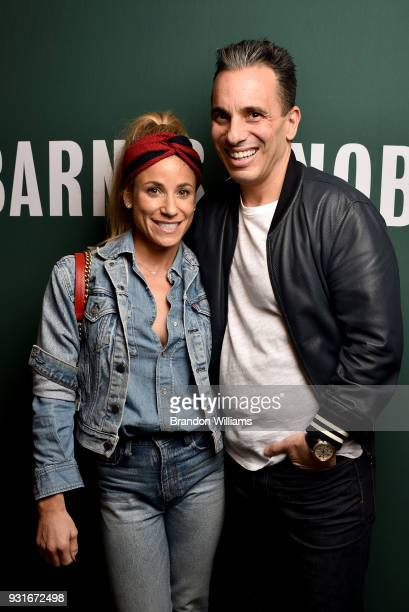 Comedian Sebastian Maniscalco and his wife Lana Gomez pose for portraits during the signing of Sebastian's new book 'Stay Hungry' at Barnes Noble at...