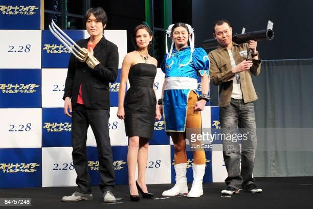 Comedian Seiji Chihara actress Kristin Kreuk comedians Waking Hiking Qtaro and Koji Chihara attend 'Street Fighter The Legend of ChunLi ' Japan...