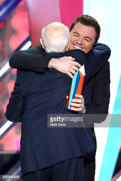 Comedian Seth MacFarlane presents television writer Norman Lear with the Impact Icon Award onstage during the 2016 TV Land Icon Awards at The Barker...