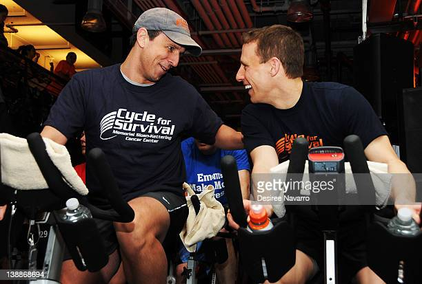 Comedian Seth Meyers and Dave Linn CoFounder Cycle for Survival cycle at the 2012 Cycle For Survival Day 2 at Equinox Graybar on February 12 2012 in...