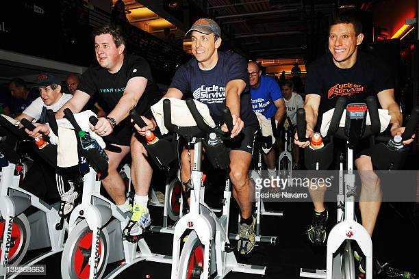 Comedian Seth Meyers and David Linn CoFounder Cycle for Survival cycle at the 2012 Cycle For Survival Day 2 at Equinox Graybar on February 12 2012 in...