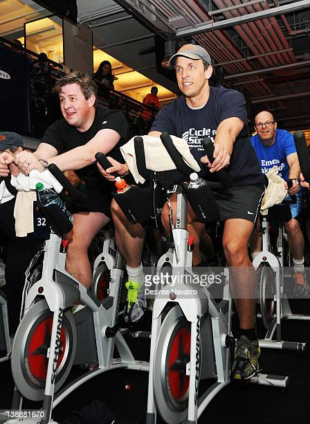 Comedian Seth Meyers cycles at the 2012 Cycle For Survival - Day 2 at Equinox Graybar on February 12, 2012 in New York City.