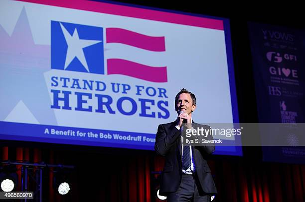 Comedian Seth Meyers performs on stage at the New York Comedy Festival and the Bob Woodruff Foundation's 9th Annual Stand Up For Heroes Event on...