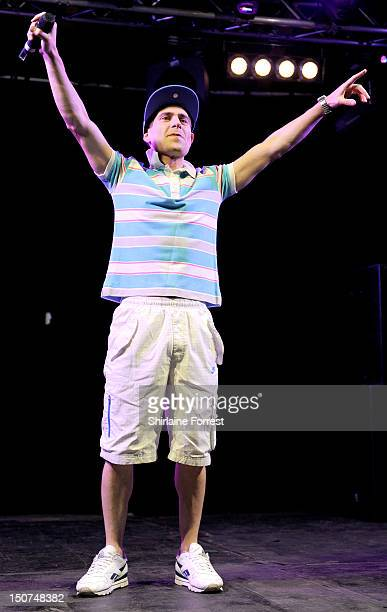 Comedian Simon Brodkin performs as Lee Nelson on day two of Leeds Festival at Bramham Park on August 25, 2012 in Leeds, England.