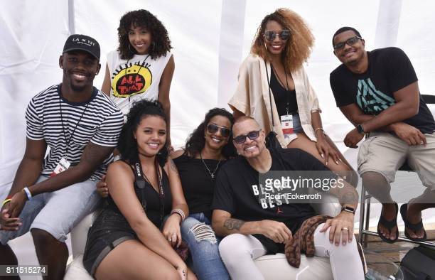 Comedian Sinbad and family pose for portrait at The Nineties at the Pier presented by CNN at Santa Monica Pier on July 9 2017 in Santa Monica...