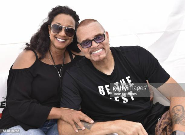 Comedian Sinbad and Meredith Adkins pose for portrait at The Nineties at the Pier presented by CNN at Santa Monica Pier on July 9 2017 in Santa...