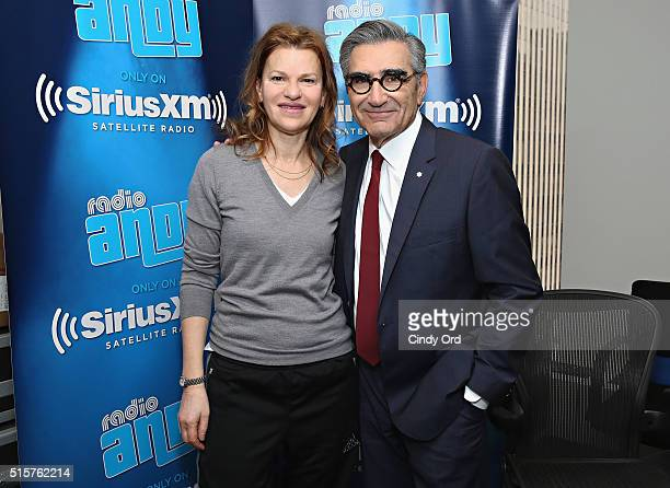 Comedian/ SiriusXM host Sandra Bernhard poses for a photo with actor Eugene Levy during his visit to Sandra Bernhard's 'Sandyland' on Andy Cohen's...