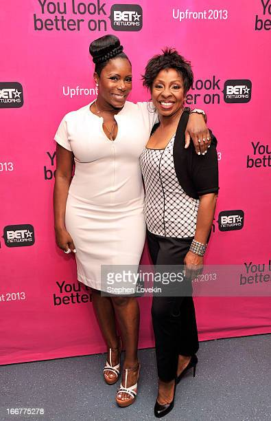 Comedian Sommore and recording artist Gladys Knight attend the BET Networks 2013 New York Upfront on April 16 2013 in New York City