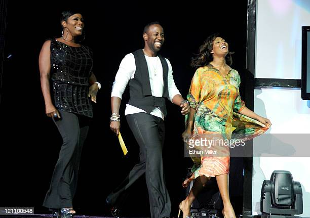 Comedian Sommore Artistic style director for SoftSheenCarson Johnny Wright and model Toccara Jones speak onstage during the ninth annual Ford Hoodie...