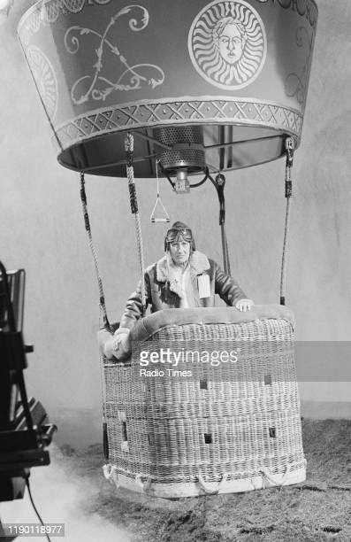 Comedian Spike Milligan in a hot air balloon sketch from the BBC television series 'The Noel Edmonds Saturday Roadshow' October 3rd 1989