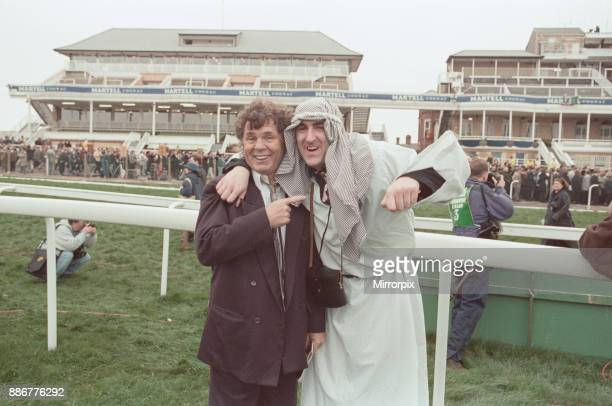 Comedian Stan Boardman pictured at the 1997 Grand National on the day the event had to be evacuated after an IRA bomb threat Aintree near Liverpool...
