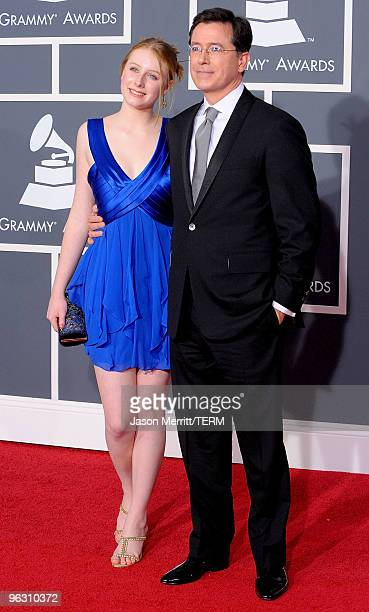 Comedian Stephen Colbert and daughter arrives at the 52nd Annual GRAMMY Awards held at Staples Center on January 31 2010 in Los Angeles California