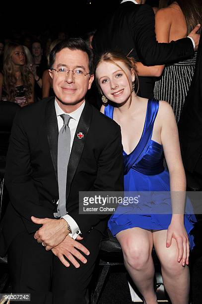 Comedian Stephen Colbert and daughter attend the 52nd Annual GRAMMY Awards held at Staples Center on January 31 2010 in Los Angeles California