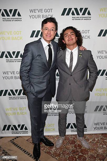 Comedian Stephen Colbert and Honoree and Army Veteran Daniel Rodriguez attends the 9th Annual IAVA Heroes Gala at the Cipriani 42nd Street on...